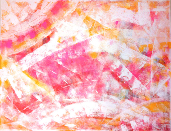 abstract painting in pinks